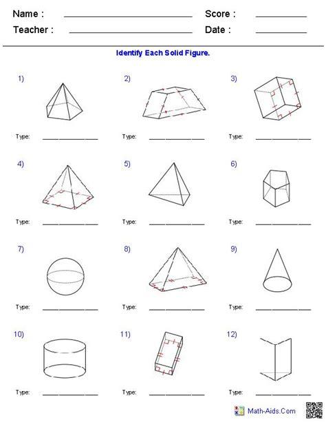 identifying solid figures worksheets