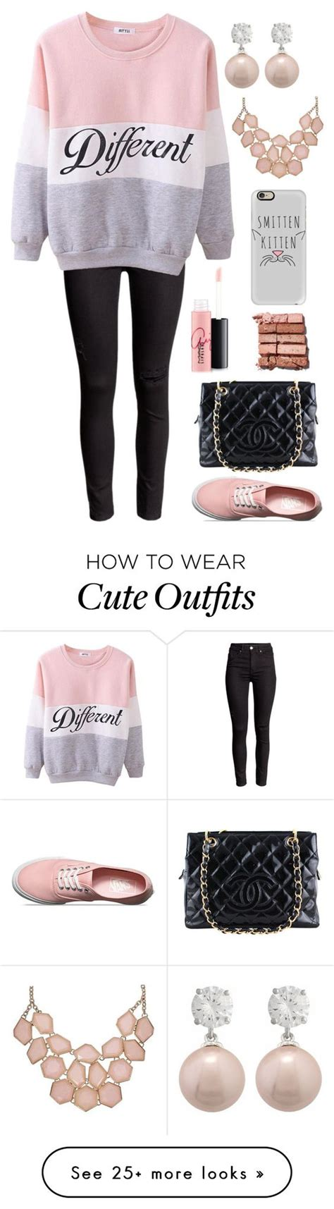 U0026quot;Blush Pink and Red Girly Lazy Outfitu0026quot; by rileyadewitt on Polyvore featuring Chanel Vans Bobbi ...