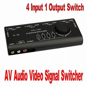 4 Port Input 1 Output Switch Av Audio Video Signal Switcher Splitter   Rca Cable