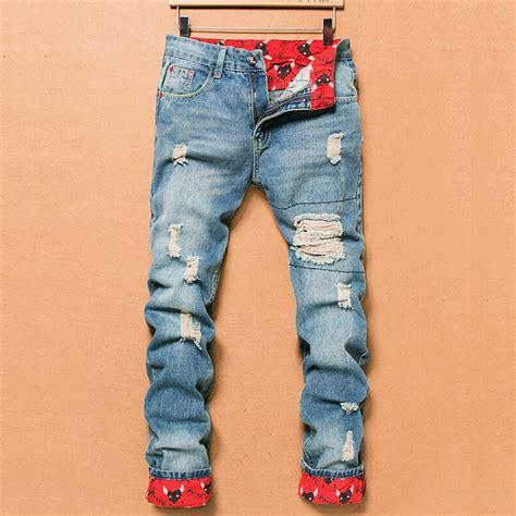 2018 Retro Fashion Slim Skinny Jeans Mens Solid Casual Straight Jeans Designer Brand Ripped ...