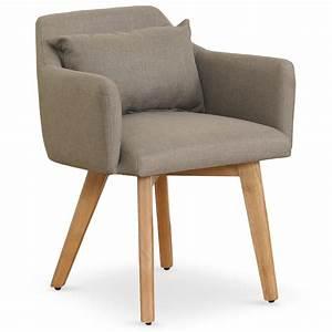 Chaise Fauteuil Avec Accoudoir : chaise scandinave avec accoudoir tissu taupe kendi ~ Melissatoandfro.com Idées de Décoration