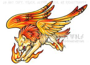 Wolf Drawing Colored Phoenix