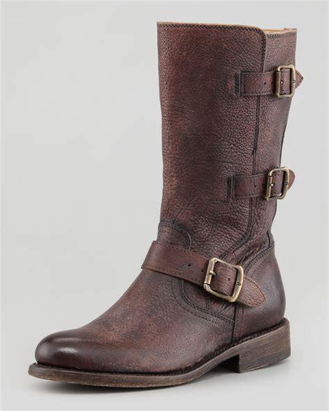 buckle motorcycle boots frye jayden motorcycle buckle boot dark brown in brown