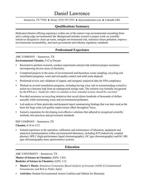 Chemist Resume by Midlevel Chemist Resume Sle
