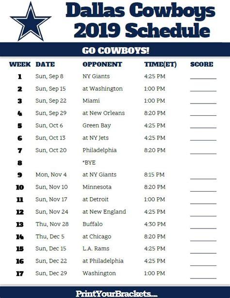 printable dallas cowboys schedule  season