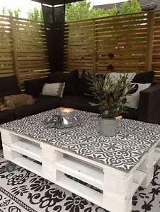 table palette et carreaux ciment maison pinterest With decorer sa terrasse exterieure pas cher 8 salon de jardin en bois plastique metal comment