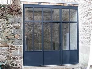 Porte portails metallique pvc portes fenetres volets saint for Porte de garage coulissante et porte de service vitrée