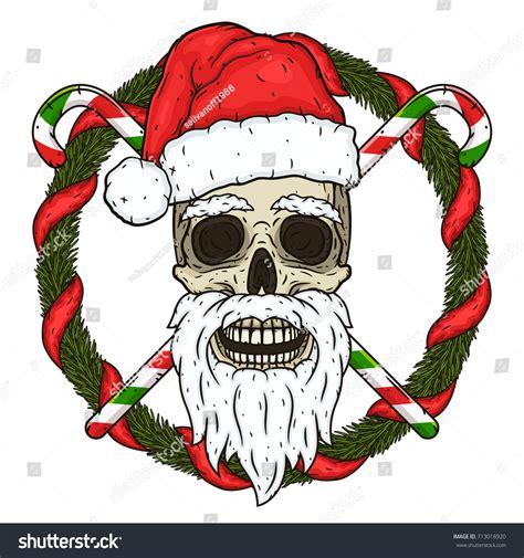Skull Santa Claus Background Branches Mistletoe Stock Skull Santa Claus Background Branches Stock