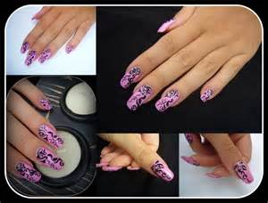 Black over purple nail design art from