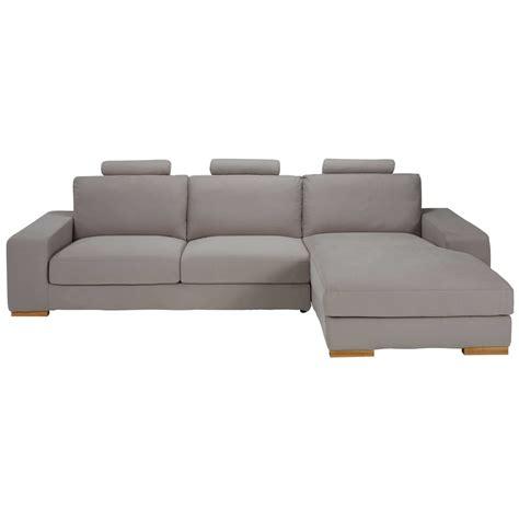 canapé droit 5 places canapé d 39 angle droit 5 places en tissu taupe daytona