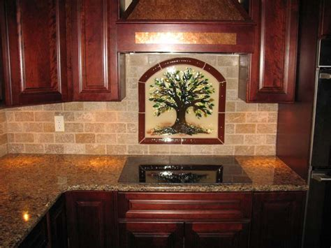 tree  life kitchen backsplash  fused glass designer glass mosaics