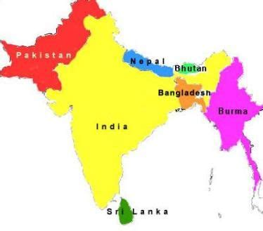 South Asia Countries Map