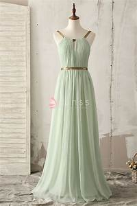 Unique Gold Strap Floor Length A-line Light Green Chiffon ...