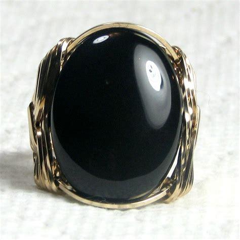 black onyx gemstone ring 14k rolled gold jewelry size selectable ebay