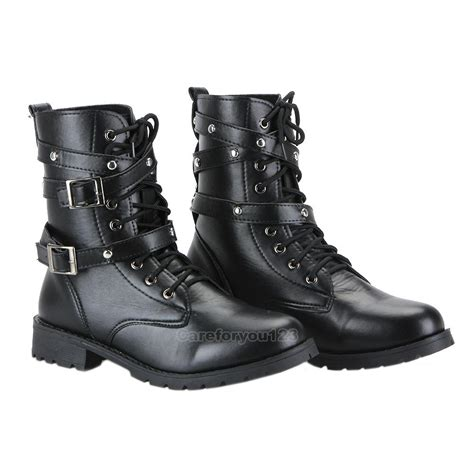 women military combat boot motorcycle riding lace buckle