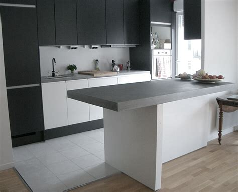 taporo eau feu bar de cuisine en beton massif ductal