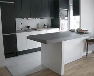 taporo eau feu bar de cuisine en beton massif ductal With plan de travail bar cuisine