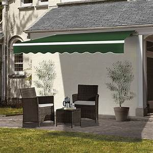 Patio Awning Retractable Manual Fabric Canopy Shelter