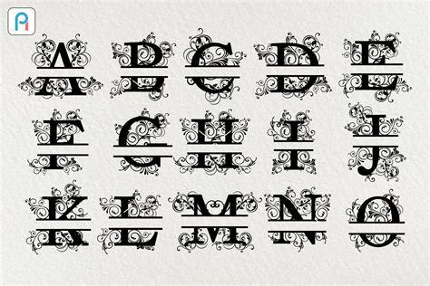 split letter monogram svg letter monogram svg split letter svg sofontsy
