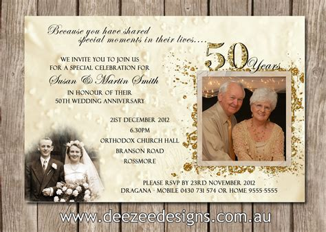 Photo Personalised 50th Wedding Anniversary Invitations