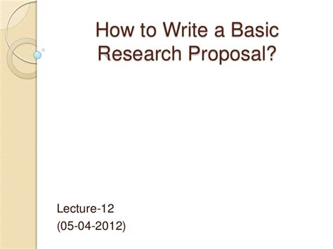 research proposal    write  research