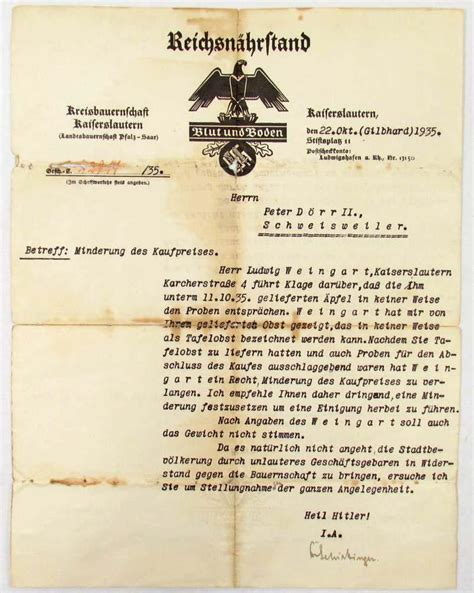 1935 german bureau of nutrition letter