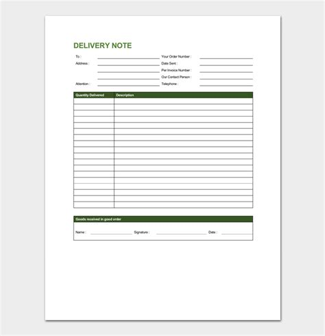 delivery order template  forms  word excel  format