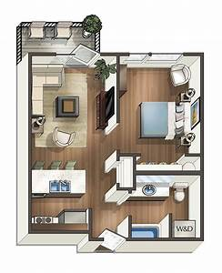 1, Bed, 1, Bath, Floor, Plan, 2