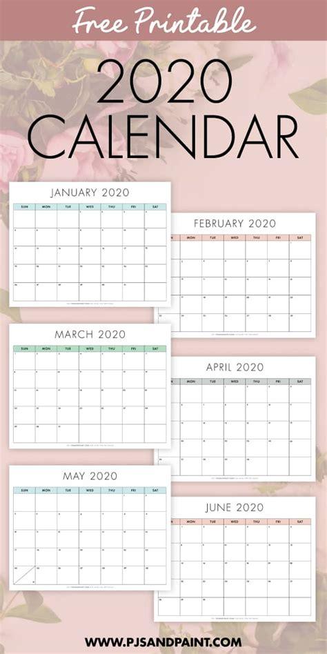 printable  calendar sunday start pjs  paint