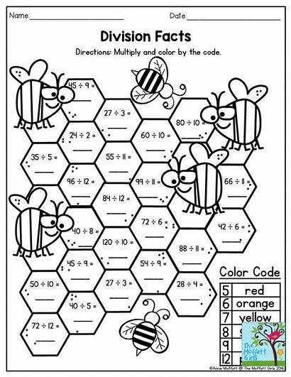 Division Facts Worksheets Math Multiply Code Activities