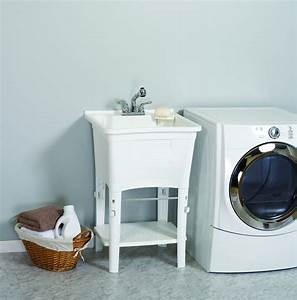 heavy, duty, freestanding, laundry, tub, with, pullout, faucet