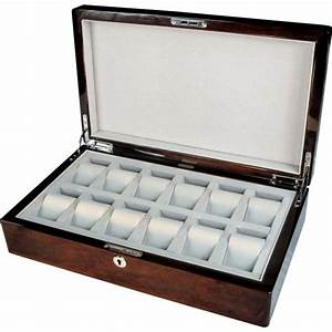 English Burl Walnut 12 Watch Storage Box With Lock