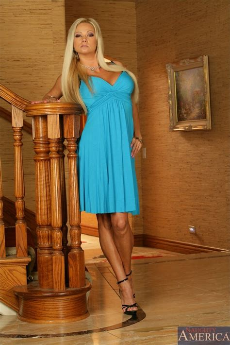 Classy Busty Blonde Milf Takes Her Blue Dress Off And Gets