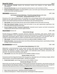 Resume sample 2 senior sales marketing executive for Sample resume for experienced marketing professional