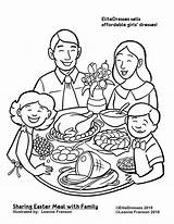 Coloring Dinner Pages Christmas Printable Easter Eating Colouring Clipart Drawing Thanksgiving Restaurant Together Sharing Meal Sheets Cameo Coloriage Repas Dessin sketch template
