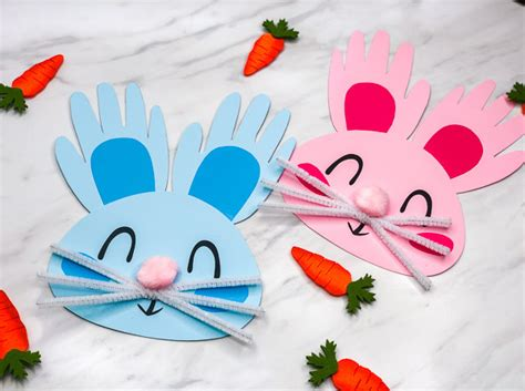 handprint bunny craft for 347 | handprint bunny easter craft for toddlers image