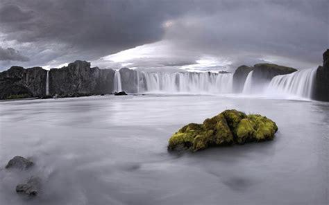 godafoss iceland natural scenery widescreen wallpaper