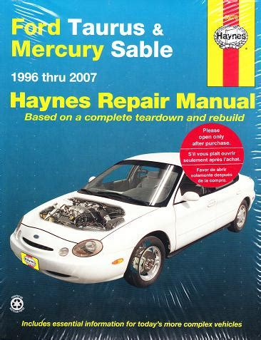 best auto repair manual 1995 ford taurus on board diagnostic system 1996 2007 ford taurus and mercury sable haynes repair manual