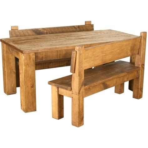 bespoke solid wood dining table benches set chunky