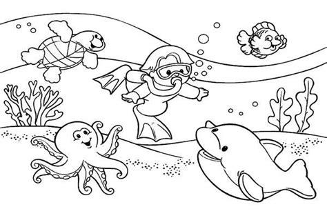 cara mewarnai gambar pemandangan bawah laut