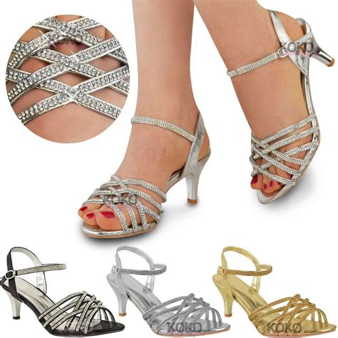 silver strappy high heels womens diamante wedding low kitten heel bridal