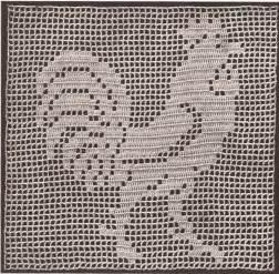 vintage crochet pattern to make filet rooster motif square