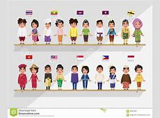 ASEAN Boys And Girls In Traditional Costume Ith Flag