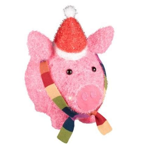 lighted tinsel pig w hat scarf love want pinterest