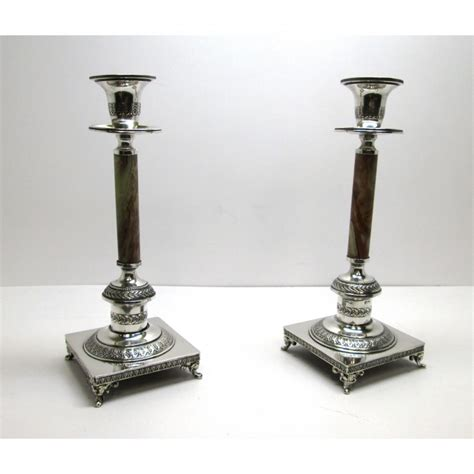 candelieri in argento due candelieri ad un fuoco in argento 800 e onice usati