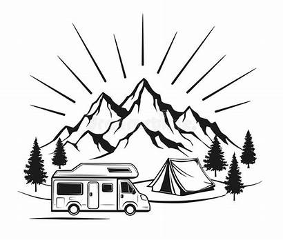 Camping Camper Tent Clipart Mountains Caravan Forest