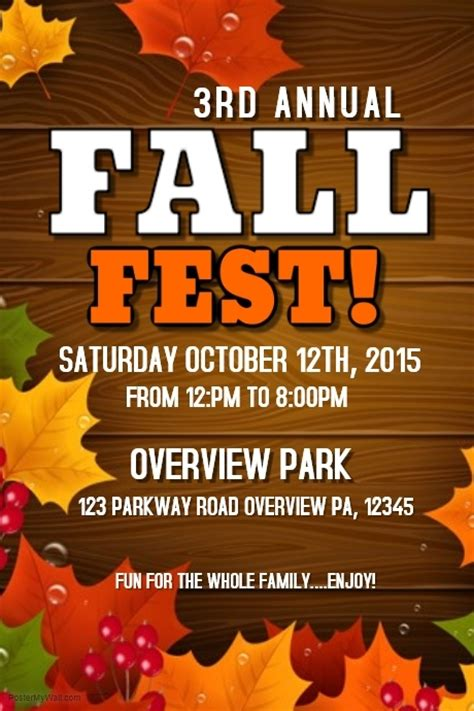 fall festival flyer template fall template postermywall