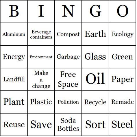 Recycling Bingo Cards