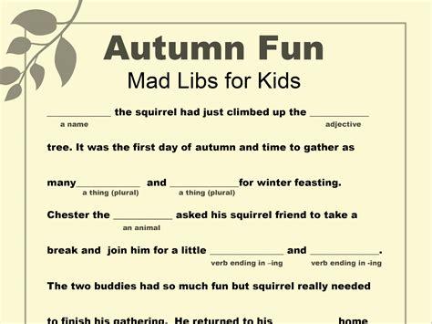 Mad Libs Printable For Fall