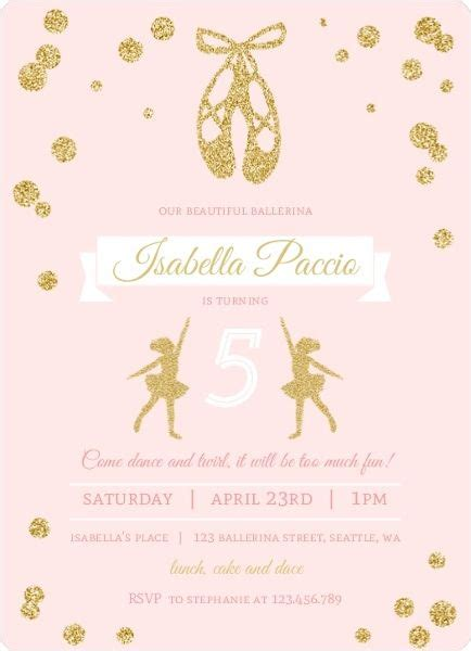 pink  gold ballerina birthday party invitation bday